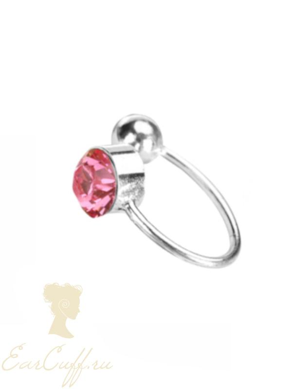 Серьги обманки с розовым камнем