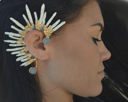 Каффы с перьями и природными кристаллами от Lux Divine
