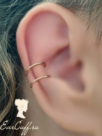 Пирсинг обманка на губы и уши розовое золото