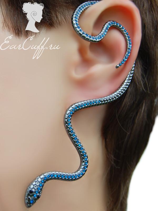 Кафф змея с кристаллами